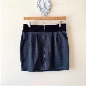 Forever 21 Gray and Black zip up mini skirt